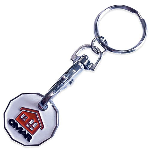 Branded Trolley Coin Token Keyrings for shop giveaways