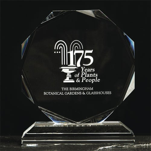 Promotional Medium Crystal Octagon Awards as Event Merchandise