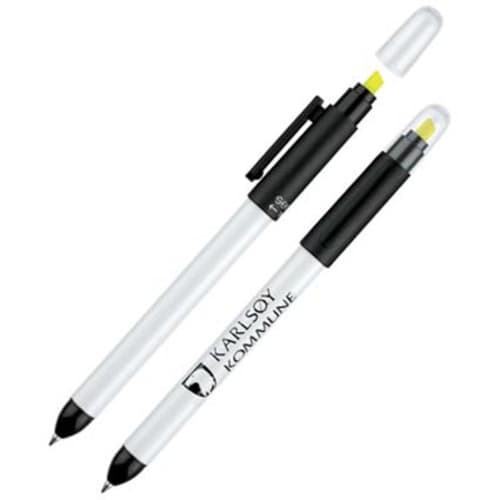 Printed twist action Duo Pens with company logos
