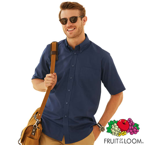Promotional Fruit of the Loom Mens Short Sleeve Oxford Shirts for workwear