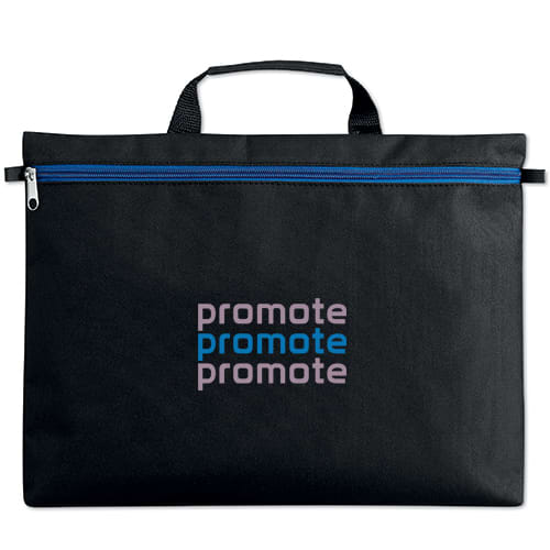 Stripe Zip Document Bags in Black/Blue