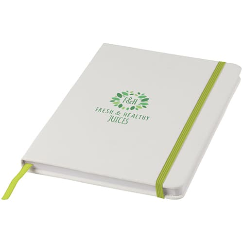 Promotional A5 Spectrum Coloured Strap Soft Touch Notebooks with logos