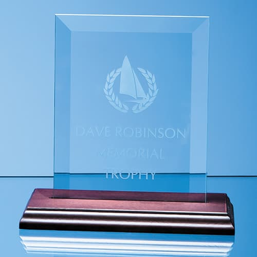Engraved Glass Plaque on Wood Base for Corporate Gifts