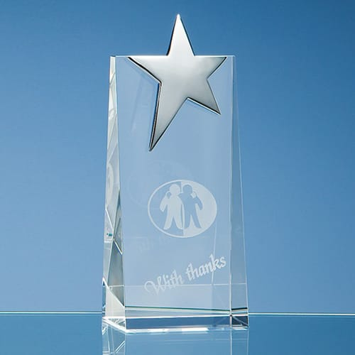 Personalised Optical Crystal Rectangle Star Awards