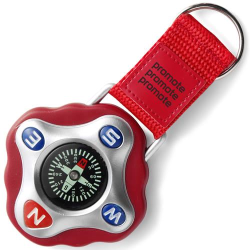 Promotional Plastic Compass Keyring in red