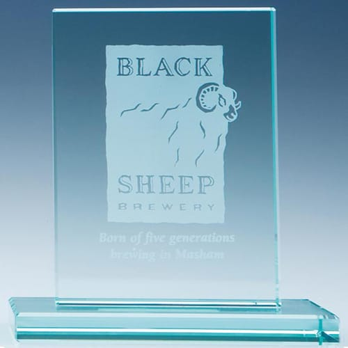 Rectangle Jade Glass Award in Jade Glass
