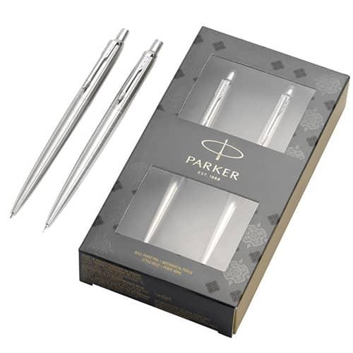 Branded Parker Jotter Steel Pen and Pencil Set for offices
