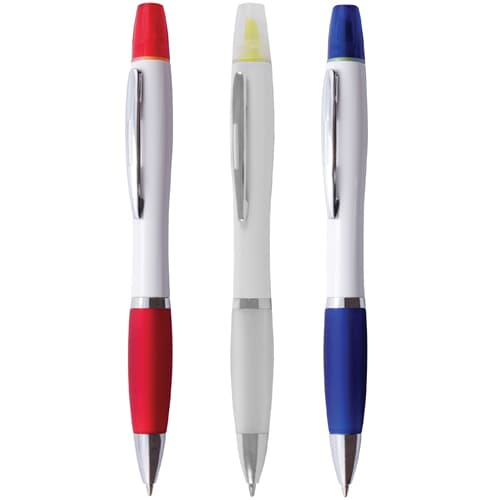 Promotional Curvy Highlighter Ballpens for offices