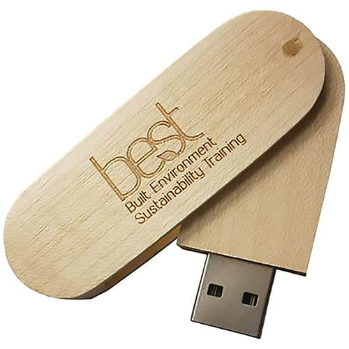 Printed USB Eco Wooden Twist Flashdrives with logos