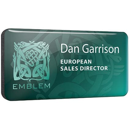 Printed plastic name badges with company designs