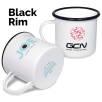 10oz Premium Enamel Mugs in White/Black