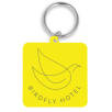 Recycled Plastic Square Keyrings in Yellow