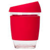 Reusable Glass Coffee Cups in Clear/Red
