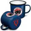 20oz Premium Enamel Mugs in Blue/Black