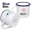 10oz Premium Enamel Mugs in White/Blue