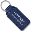 Large Rectangular Leather Keyfobs in Blue