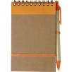 Recycled Wire Bound Flip Notebooks in Natural/Orange