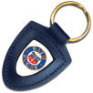 Templar Shield Leather Keyfobs in Blue