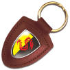 Templar Shield Leather Keyfobs in Red