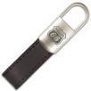 Tulsa Padlock Leather Keyfobs in Black/Silver