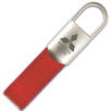 Tulsa Padlock Leather Keyfobs in Red/Silver