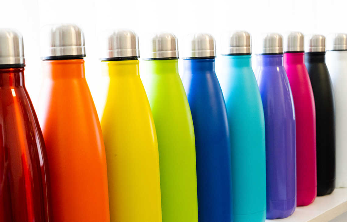 Colourful metal water bottles