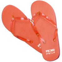 Promotional Flip Flops in Orange Branded with a Logo to the Heel by Total Merchandise