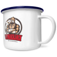Promotional Printed 10oz Premium Enamel Mugs in white with blue rim from Total Merchandise