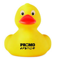 Custom printed Plastic Toy Ducks with a company logo printed to the front from Total Merchandise