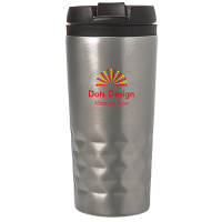 Branded silver stainless steel take out cup printed with a company logo from Total Merchandise