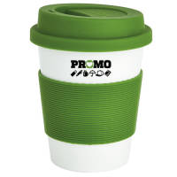Branded Eco Plant Reusable Coffee Cups Made from Plant Material in Green/White by Total Merchandise
