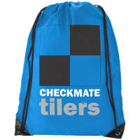 Process blue promotional drawstring rucksacks with your logo from Total Merchandise