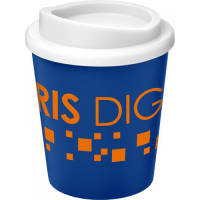 UK Branded Mini Americano Reusable Coffee Cup in Blue/White Printed with a Logo by Total Merchandise