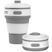 Grey Branded Collapsible Coffee Cups with your Logo