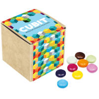 Branded Chocolate Beanies in Eco Kraft Cubes Printed with a Company Logo by Total Merchandise