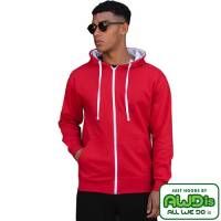 Branded AWD Varsity Zipped Hoodies in Fire Red/Arctic White from Total Merchandise
