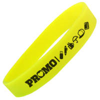 Yellow Promotional Glow In The Dark Silicone Wristbands Printed with Your Logo