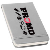 Promotional Flip Cover Notebook in silver printed with your logo by Total Merchandise