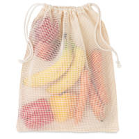 Branded reusable food bag with cotton mesh side