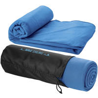 Logo branded Fleece Blanket with Pouch in blue from Total Merchandise