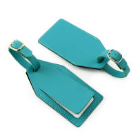 Custom Branded Recycled Leather Luggage Tags in Teal from Total Merchandise