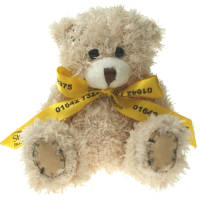 Promotional Paw Teddy Bears with Bows in Cappucciino Printed with Your Logo from Total Merchandise