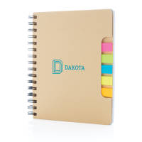 Full Colour Printed A5 Kraft Spiral Notebook with Sticky Notes from Total Merchandise