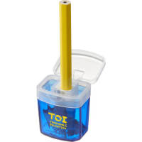 Branded pencil sharpener in transparent blue from Total Merchandise