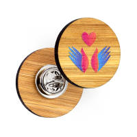 Promotional Full Colour Printed Bamboo Clutch Pin Badges