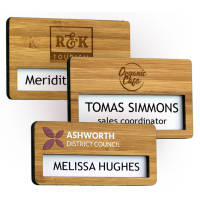 Promotional Bamboo name badges with window from Total Merchandise