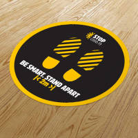 Custom branded full colour Round Anti-Slip Social Distancing Floor Stickers from Total Merchandise