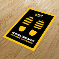 Branded anti-slip floor stickers to communicate social distancing guidelines from Total Merchandise