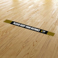Branded Stickers for Floors With Social Distancing Messages from Total Merchandise