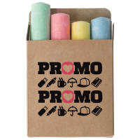 Promotional Set of Sidewalk Chalk in a natural coloured box printed with a logo by Total Merchandise